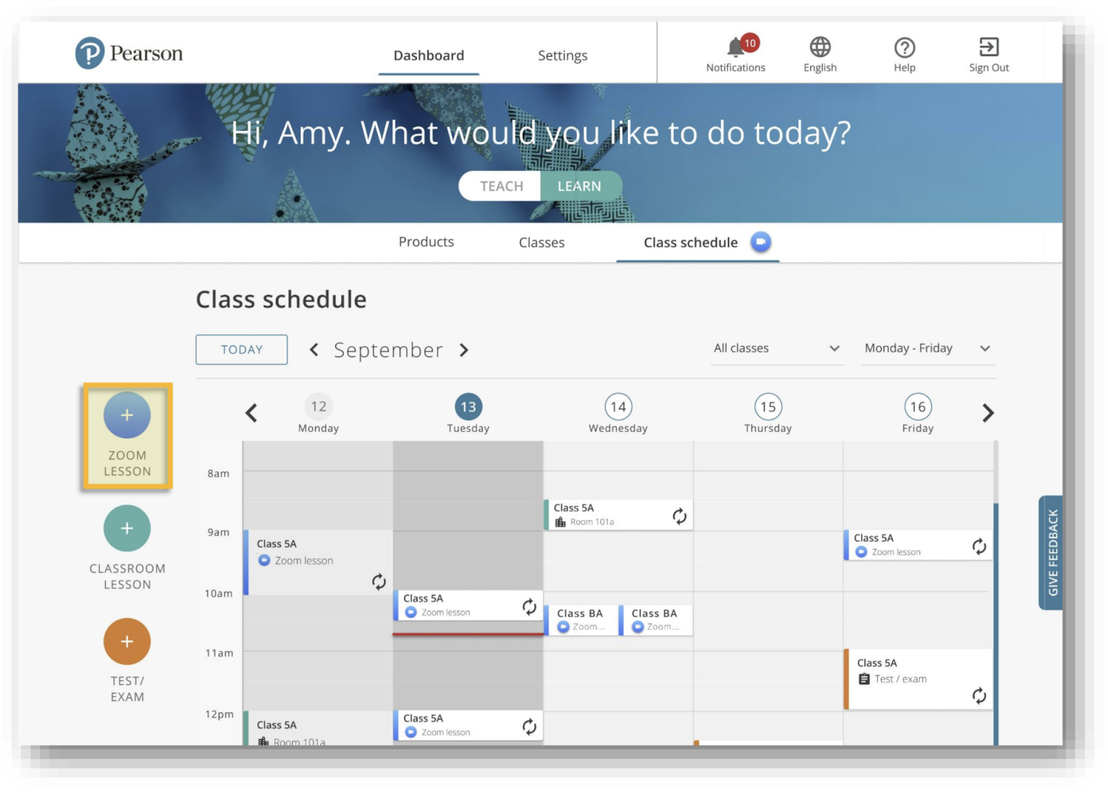 Zoom video conferencing integration: class schedule