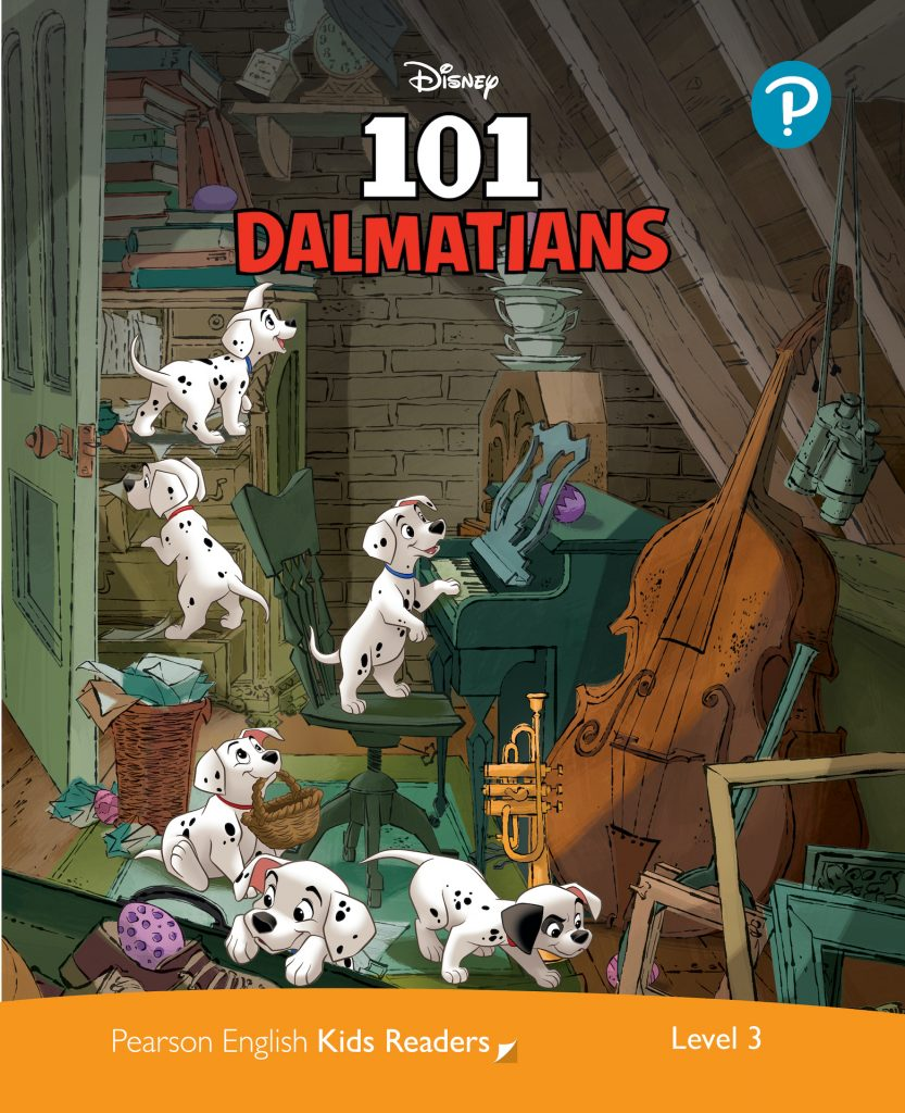 101 Dalmation front page (Dalmation puppies playing on the stairs)
