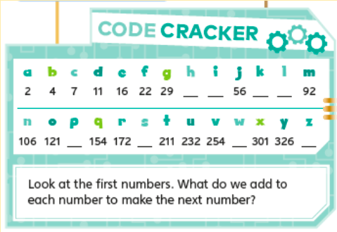 """Level 4 code cracker game. Instruction: Look at the first numers. What do we add to each number to make the next number."""" Sequence: 2 4 7 11 16 22 29 *missing *missing 56 *missing *missing 92."""
