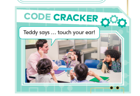 """Code cracker game """"Teddy says....touch your ear"""""""
